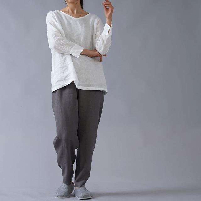 【wafu】雅亜麻リネン インナー ブラウス 浅いVネック 黄金比率のネック角度/白色 p013a-wht1