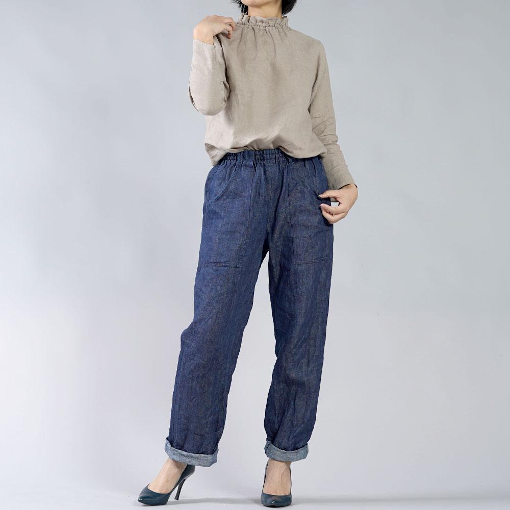 【wafu】雅亜麻 リネン タートル ネック インナー 袖スリット コーデの幅が広く万能に使えます。/榛色(はしばみいろ) p014a-hbm1