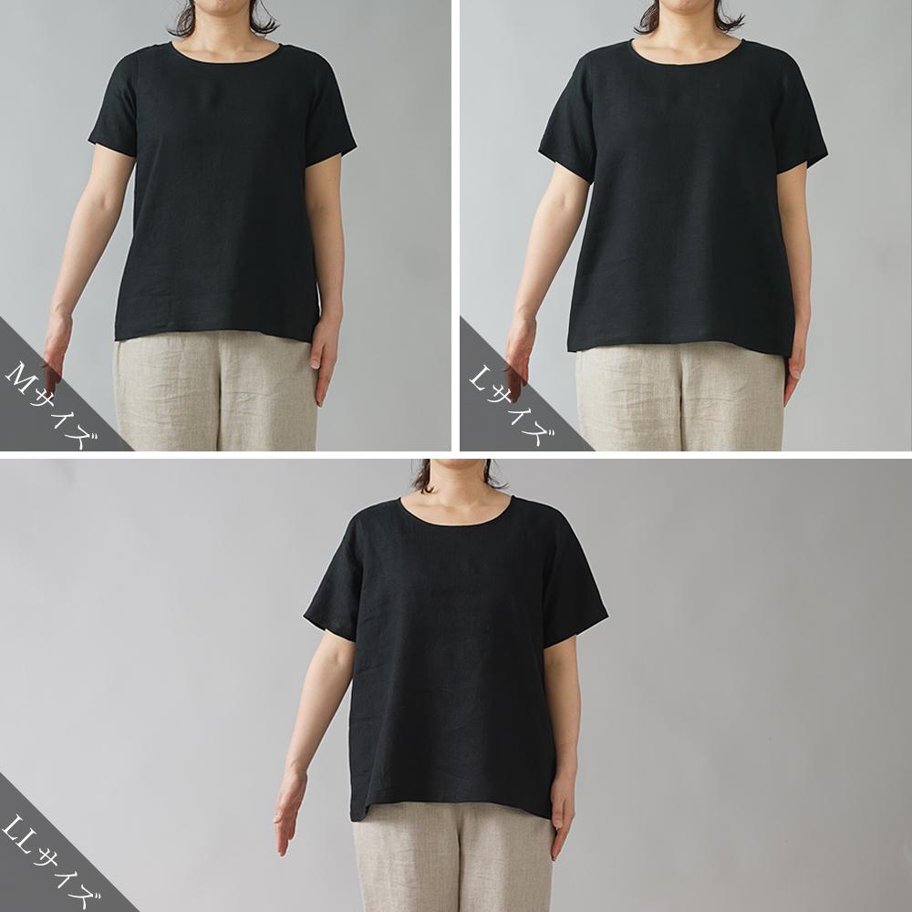 【wafu】雅亜麻リネンTシャツ インナー リネンブラウス ペチコートにも 半袖 丸首 T-shirt /黒色 p015a-bck1