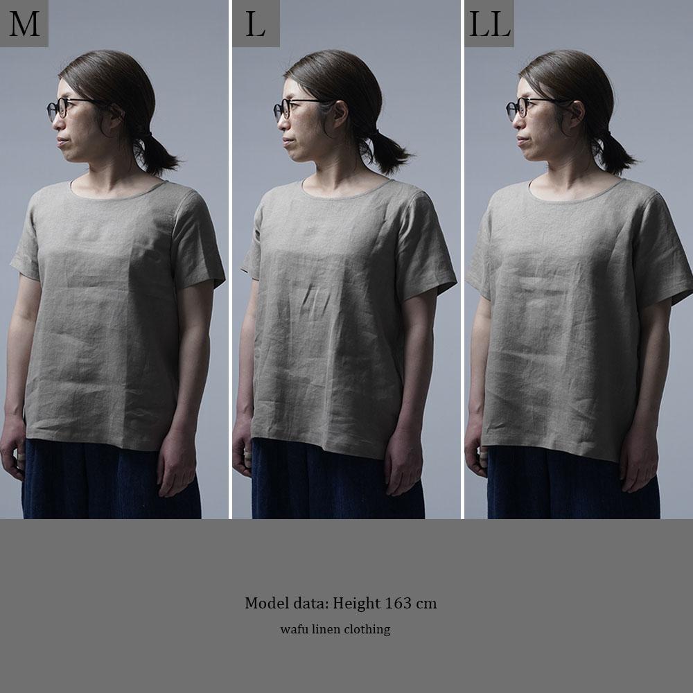 【wafu】雅亜麻リネンTシャツ インナー リネンブラウス ペチコートにも 半袖 丸首 T-shirt /榛色(はしばみいろ) p015a-hbm1