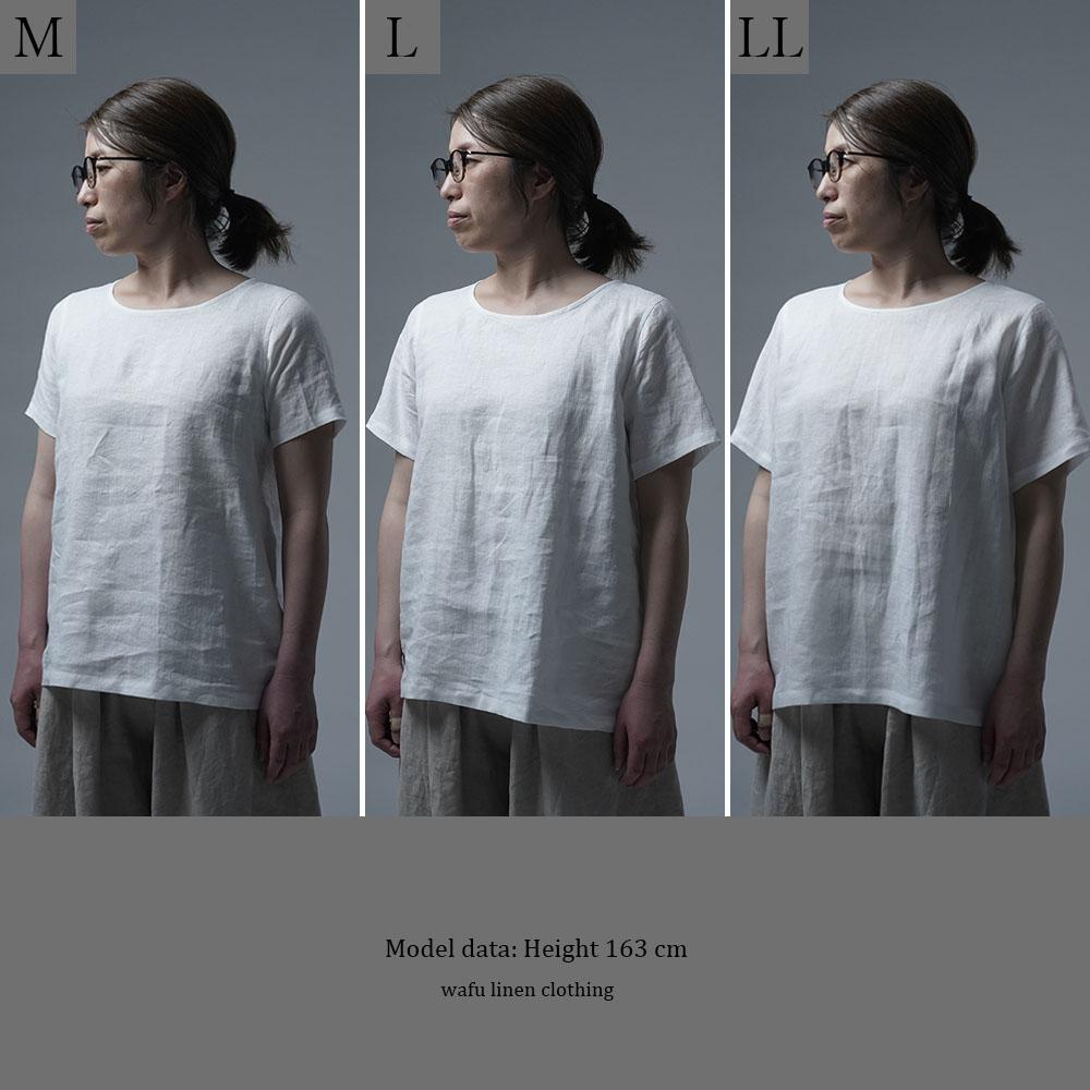【wafu】雅亜麻リネンTシャツ インナー リネンブラウス ペチコートにも 半袖 丸首 T-shirt /白色 p015a-wht1