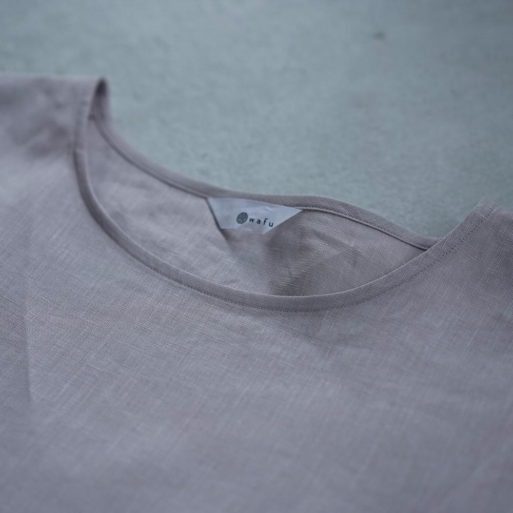 【wafu 入門編】 リネンTシャツ シンプル 丸首 トップス / 灰桜(はいざくらい) p015b-hzk1