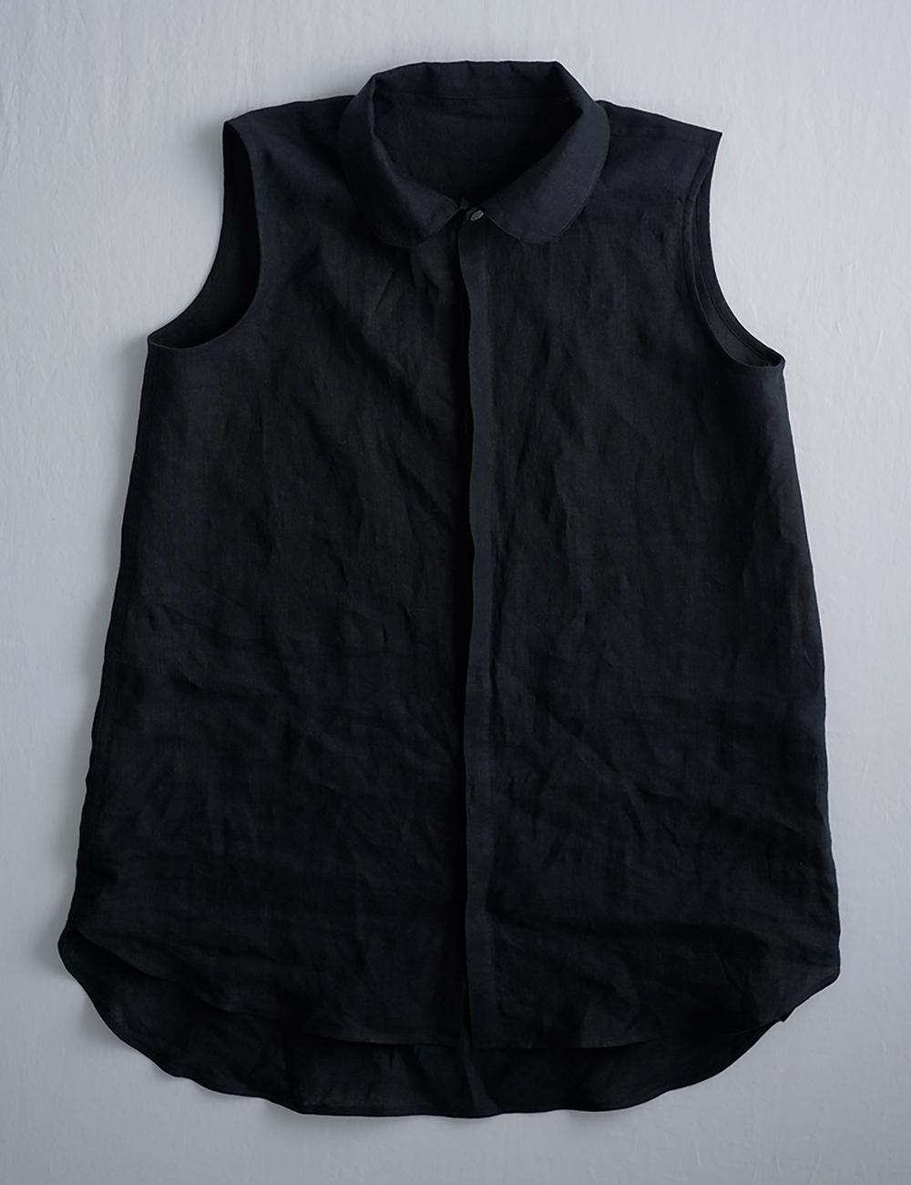 【wafu】雅亜麻 linen shirt  丸襟 比翼 シャツ  インナーとしても/黒色 p018a-bck1