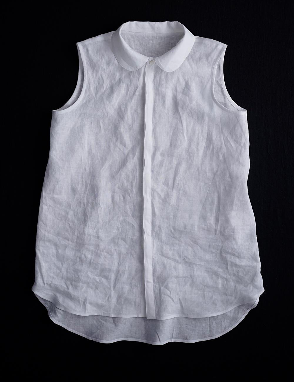 【wafu】雅亜麻 linen shirt  丸襟 比翼 シャツ  インナーとしても/白色 p018a-wht1