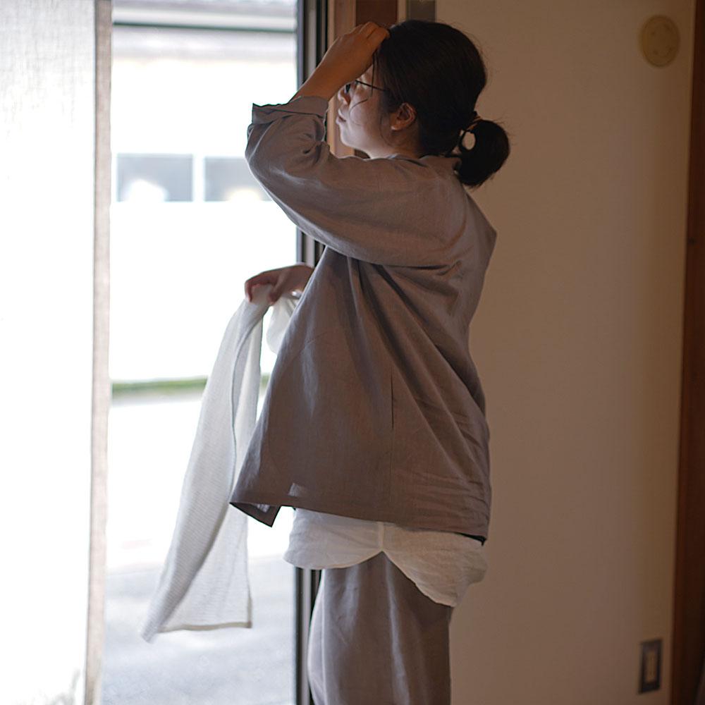 【wafu 作務衣上下セット】中厚リネン100% 寝間着や作業着にも リネン作務衣 和装 禅 羽織 リネンカーデ カーディガン 男女兼用/アッシュパール【free】r008d-asp2