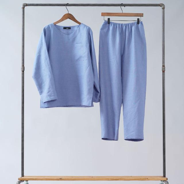 【wafu】リネンルームウェア 浅Vネック リラックスウェア リネンパジャマ /r008e-smr1