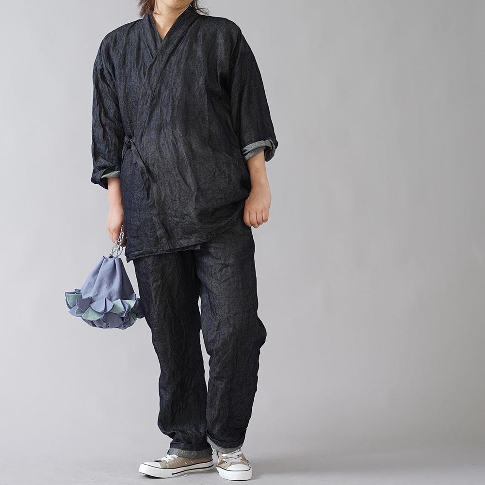 【wafu】岡山県産リネン100% デニム 作務衣 上下セット 和装 禅 羽織 男女兼用 japan kimono wasou/ダークインディゴ r008k-din3