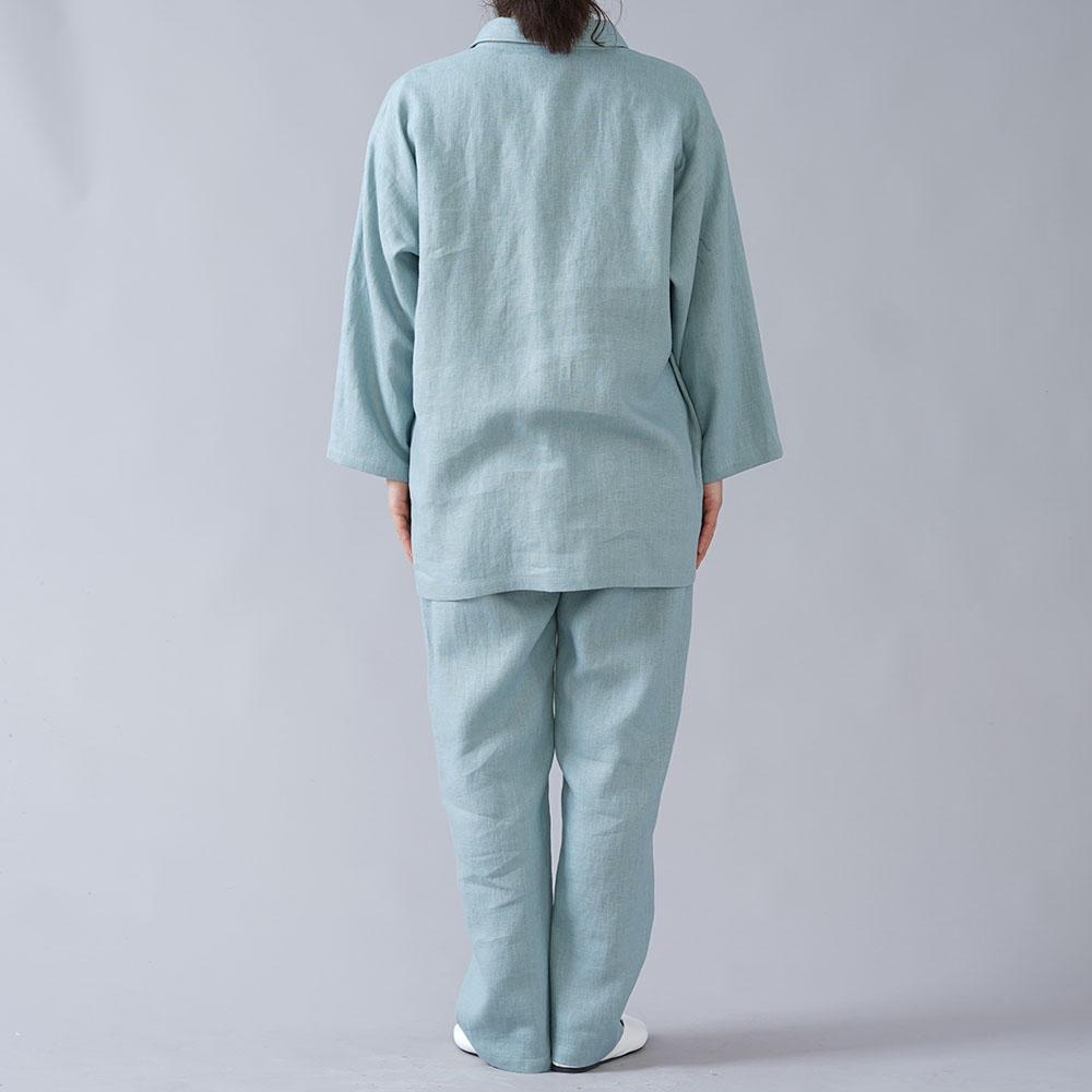 【wafu】リネンルームウエア 上下セット スキッパー リラックスウェア リネンパジャマ /スカイミント r008l-skm2