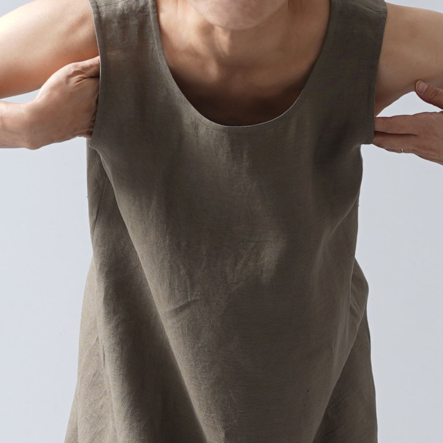 【wafu 入門編】薄地 リネン インナー ペチワンピース やさしい インナー ワンピース 肌着 下着/鶯茶(うぐいすちゃ)【M】r010b-ugc1