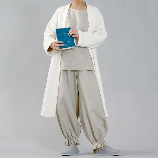 【wafu】中厚リネン 2wey パジャマ ルームウェア 上下セット Vネック 丸首 /亜麻ナチュラル【free】r011a-mn2