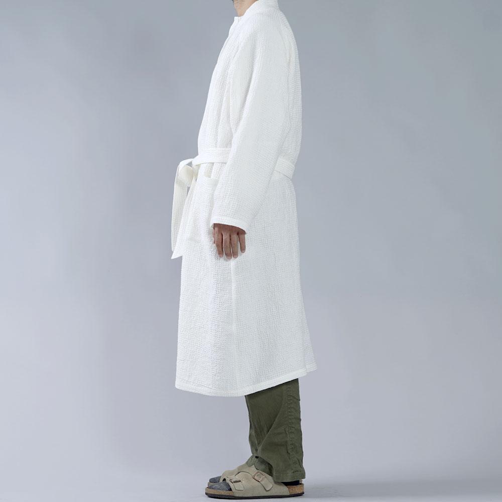 【wafu】ワッフル リネン ガウン linenローブ /ホワイト r012a-wht3-m