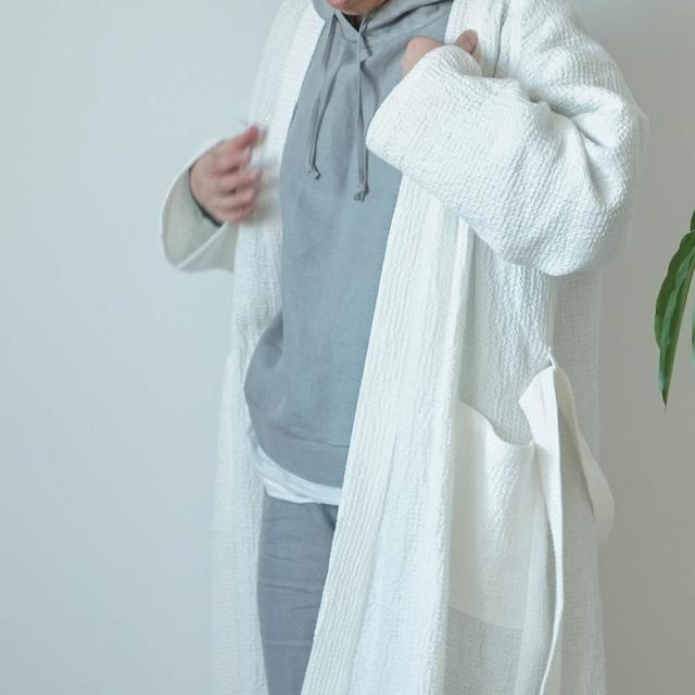 【wafu】ワッフル リネン ガウン linenローブ /ホワイト r012a-wht3