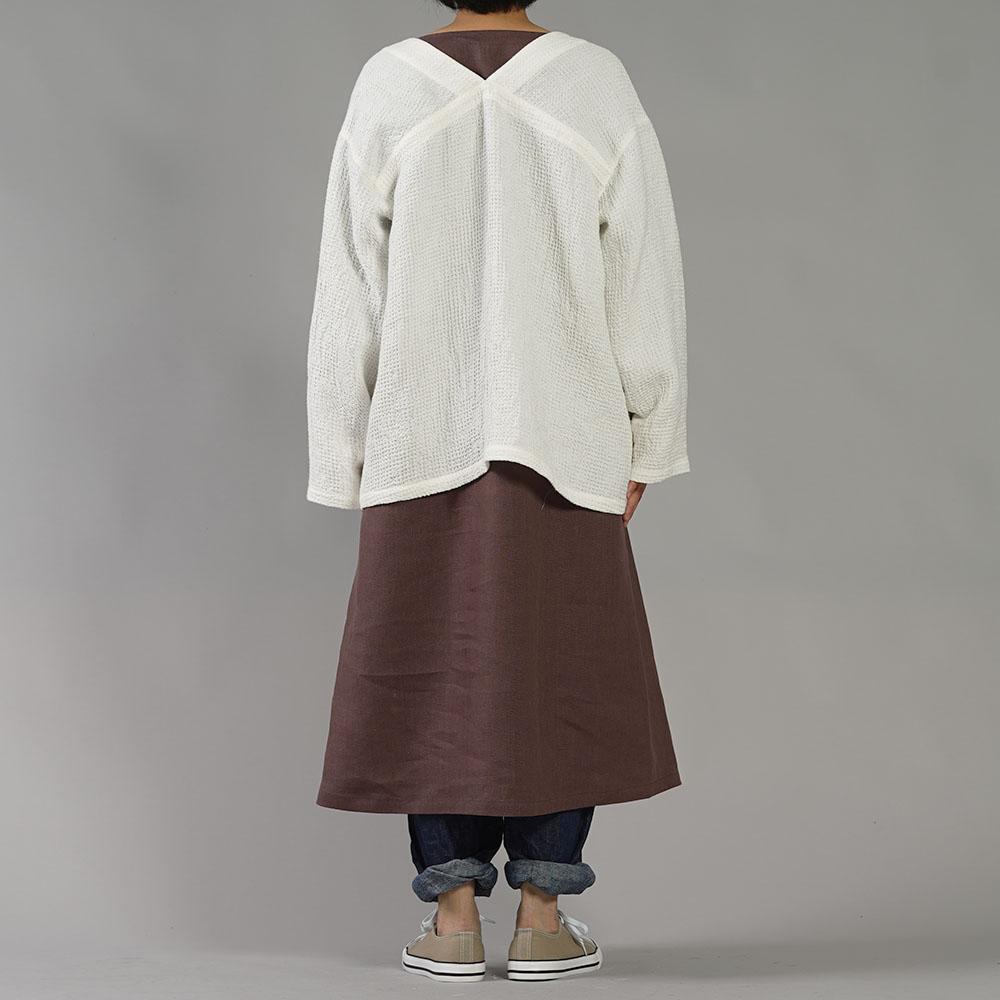 【wafu】ワッフル リネン ショートローブ  /ホワイト【free】r013a-wht2