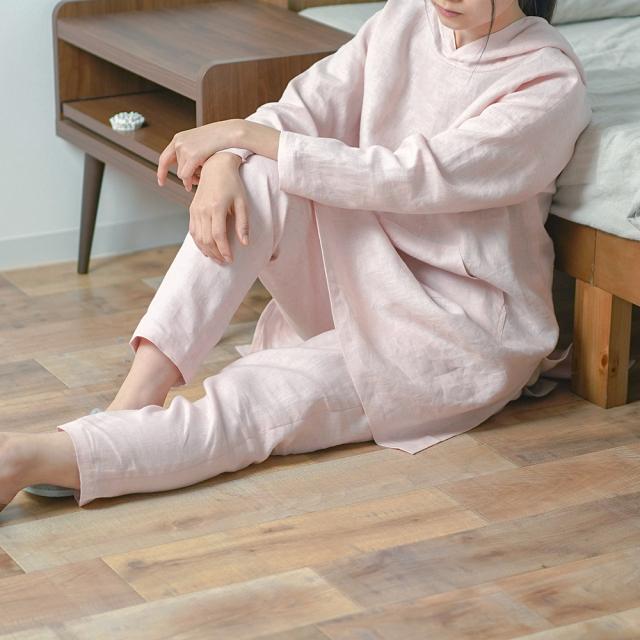 【wafu】中厚リネン フード付き 上下セット ルームウェア パジャマ /シェルピンク r014a-spk2