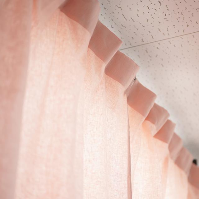 【wafu】中厚リネンカーテン サイズオーダー可/シェルピンク/r015a-spk2