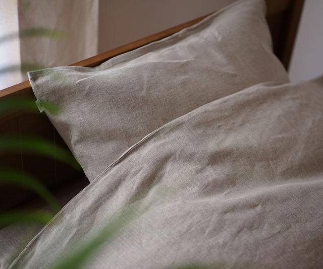 【wafu】特殊な リネン ピローケース 枕カバー 筒型 寝具 ベットリネン マイナスイオン加工 防菌 防臭加工 / 亜麻ナチュラル【free】r002a-amn3