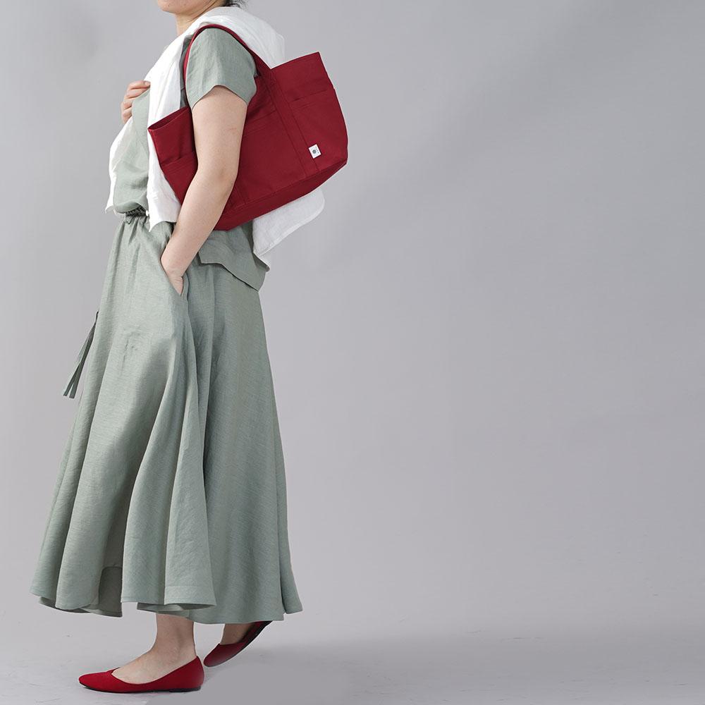 【wafu】やや薄地 リネン サーキュラースカート リネンスカート フレアスカート ミモレ丈 ウエストゴム 40番手 ロングスカート/青磁鼠(せいじねず)【free】s002f-snz1