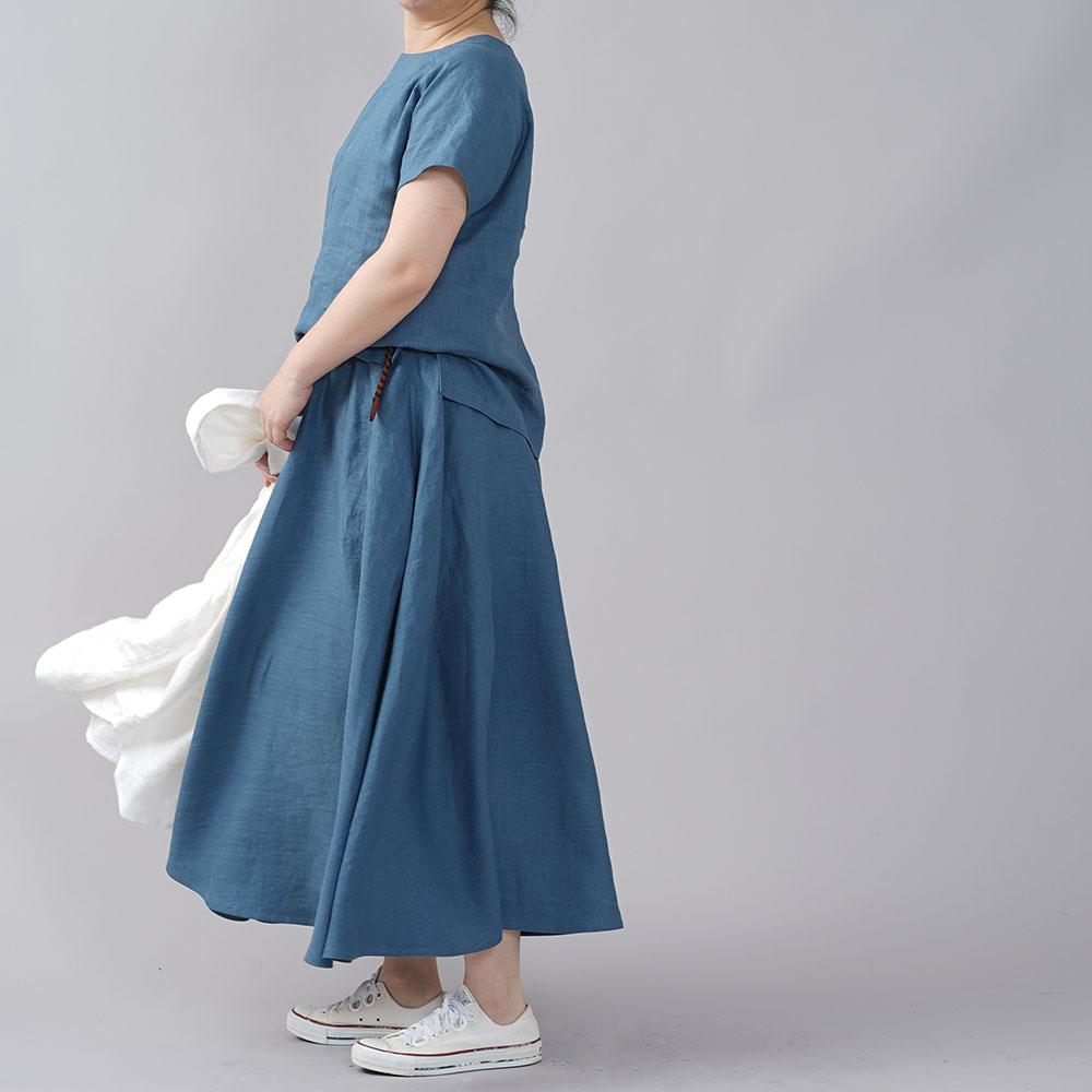 【wafu】やや薄地 リネン サーキュラースカート リネンスカート フレアスカート ミモレ丈 ウエストゴム 40番手 ロングスカート/薄縹(うすはなだ)【free】s002f-ush1