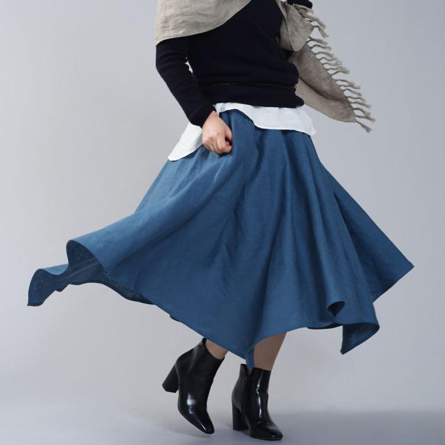 中厚 リネン イレギュラーヘムスカート フレアースカート4枚はぎのリネンスカート/ブルーパッセ【free】s002g-bps2
