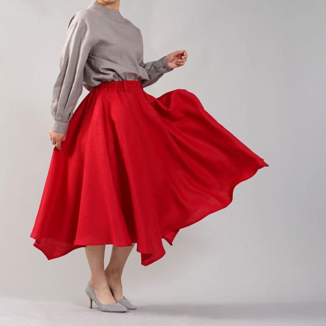 中厚 リネン イレギュラーヘムスカート フレアースカート4枚はぎのリネンスカート/レッド【free】s002g-red2