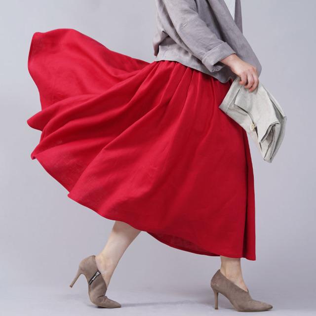 中厚リネン揺れるフレアスカート ウエストヨークのフレアスカート リネンスカート / レッド【free】s003a-red2