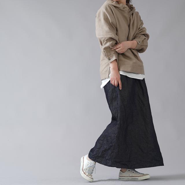 【wafu】岡山リネンデニム スカート linen100% /ダークインディゴ s006a-din3