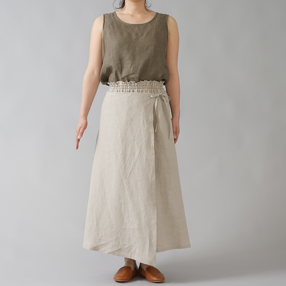 【wafu】やや薄手 リネンラップ風スカート 重ね巻スカート ロングスカート /亜麻ナチュラル s007a-amn1