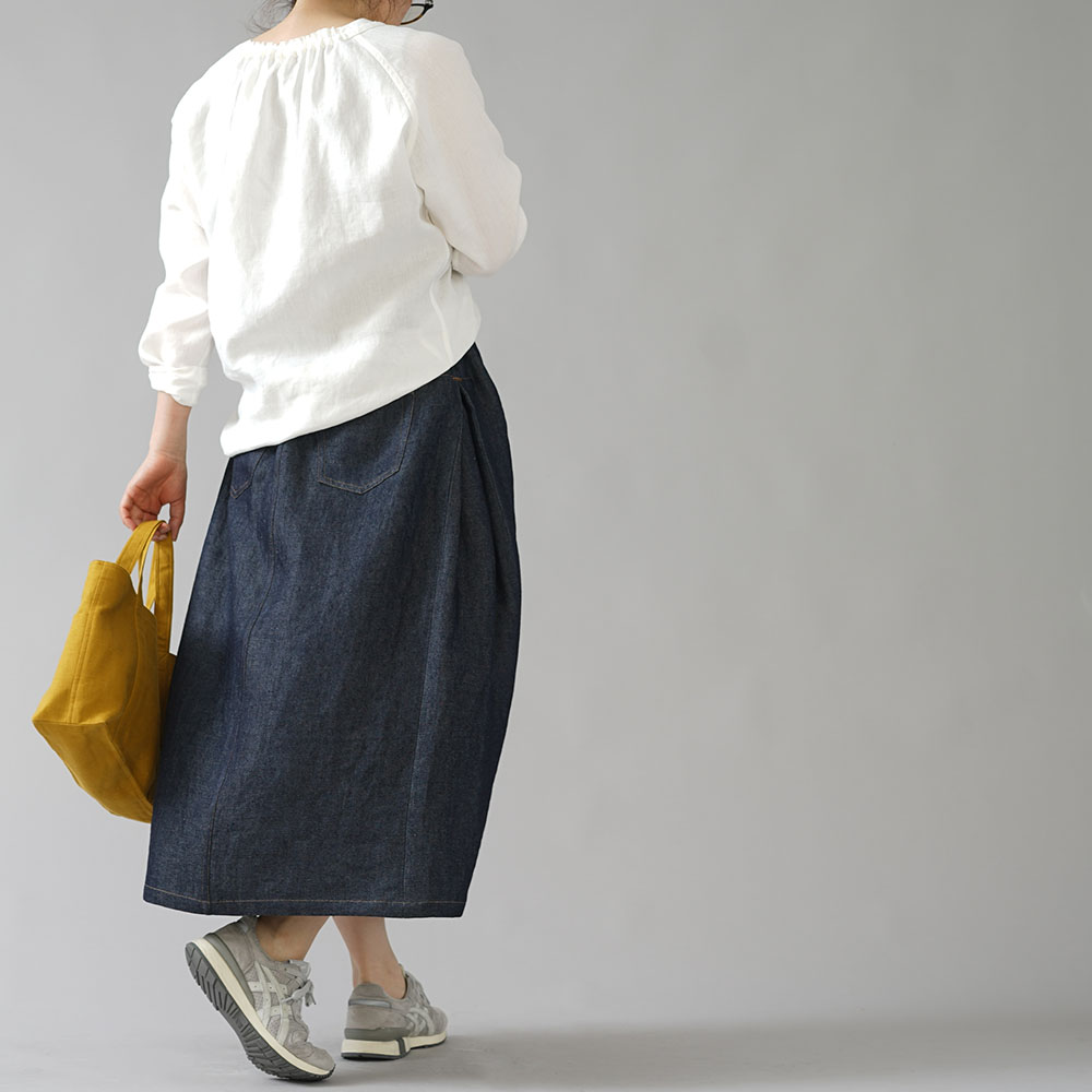【wafu】岡山リネンデニム スカート 拝みヒダ Aライン/ダークインディゴ s008a-din3