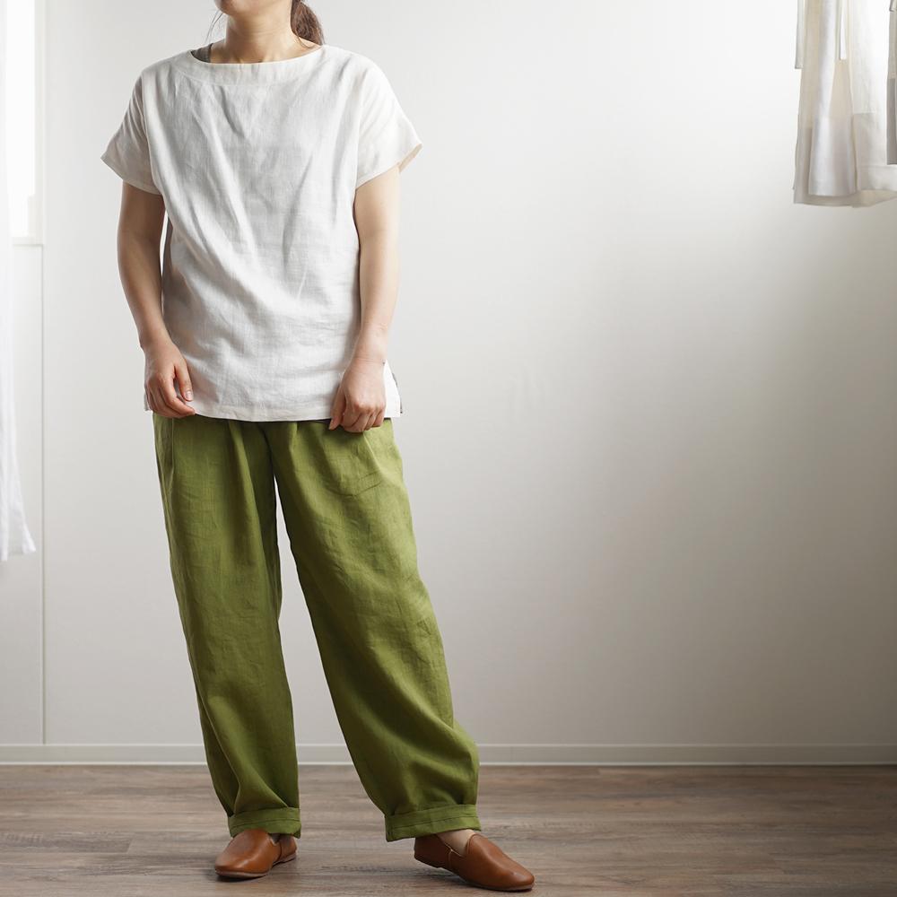 【wafu】中厚 リネンブラウス ドロップショルダー Tシャツ トップス / ホワイト t001f-wht2