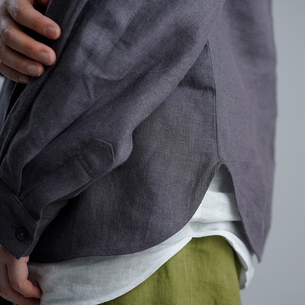 【wafu】中厚 リネンブラウス ふんわり袖 トップス 長袖 ドロップショルダー クルーネック カフス袖 裾丸 / 黒橡(くろつるばみ)【M-L】t001k-ktb2