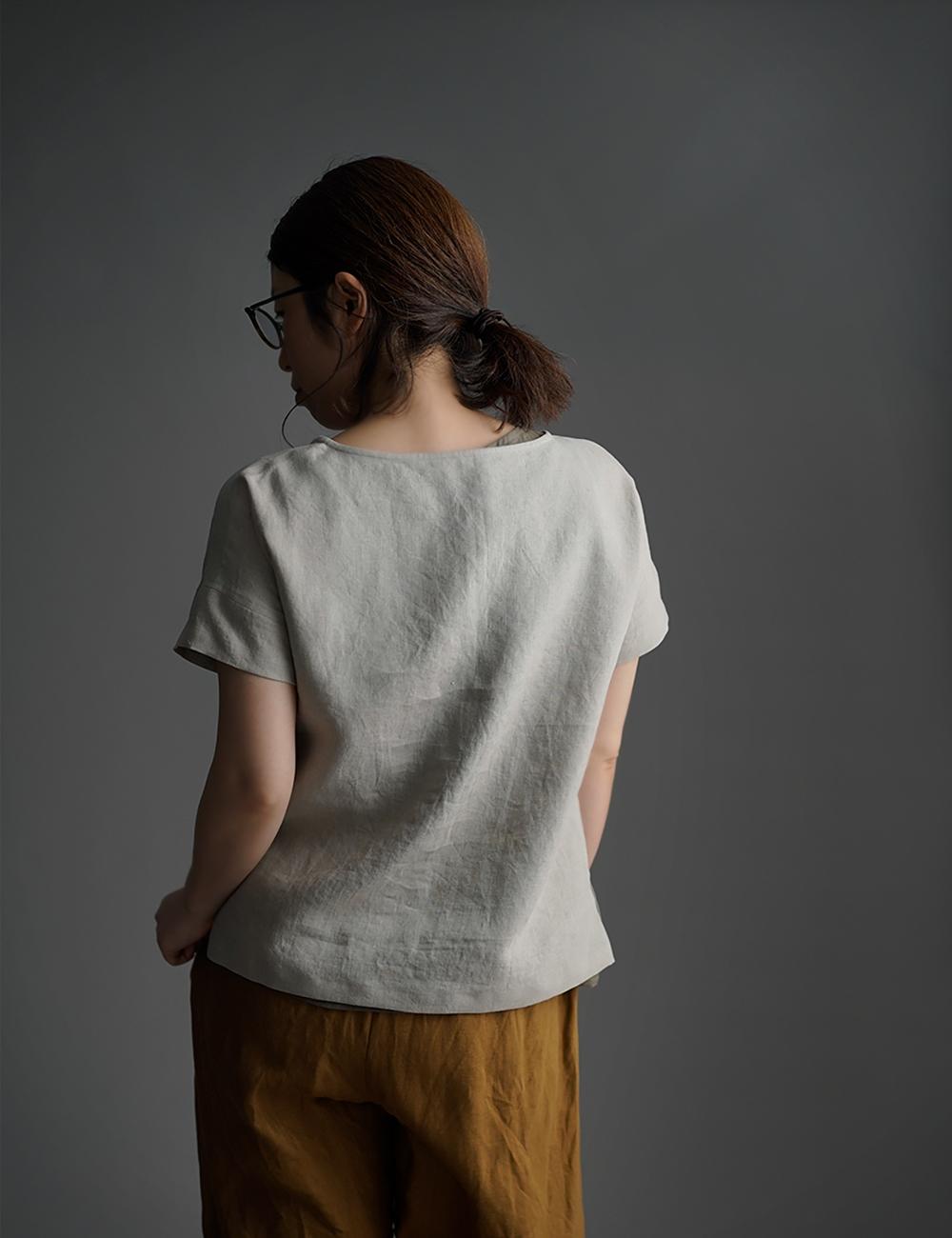 【wafu】Linen T-shirt ドロップショルダー Tシャツ /亜麻ナチュラル t001l-amn1