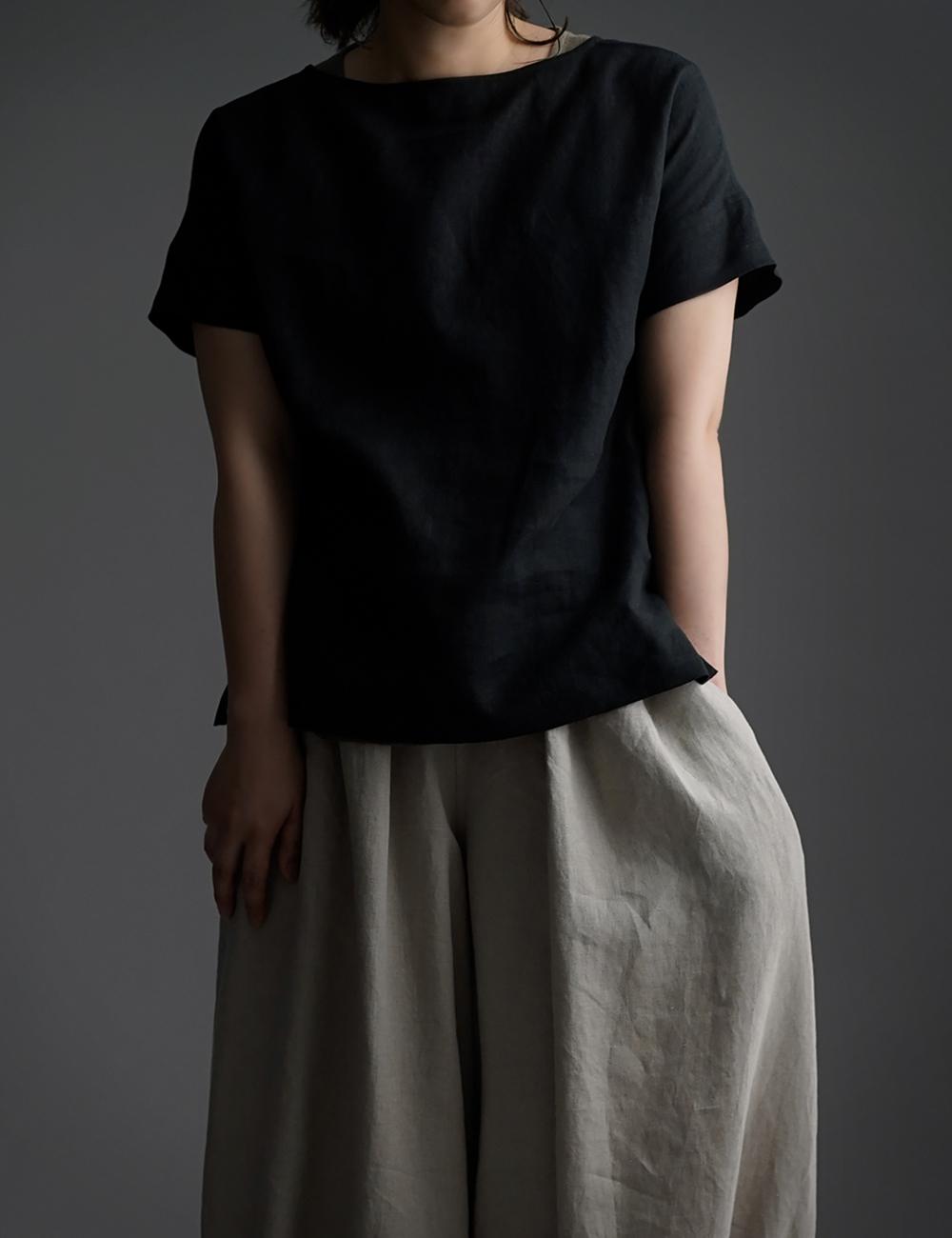 【wafu】Linen T-shirt ドロップショルダー Tシャツ /黒色 t001l-bck1