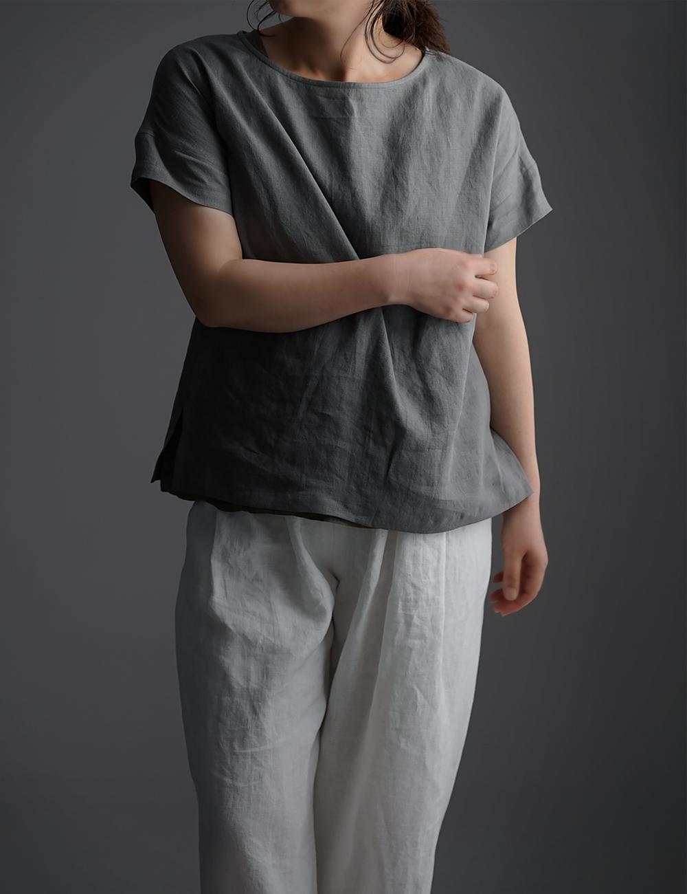 【wafu】Linen T-shirt ドロップショルダー Tシャツ /鈍色(にびいろ) t001l-nib1