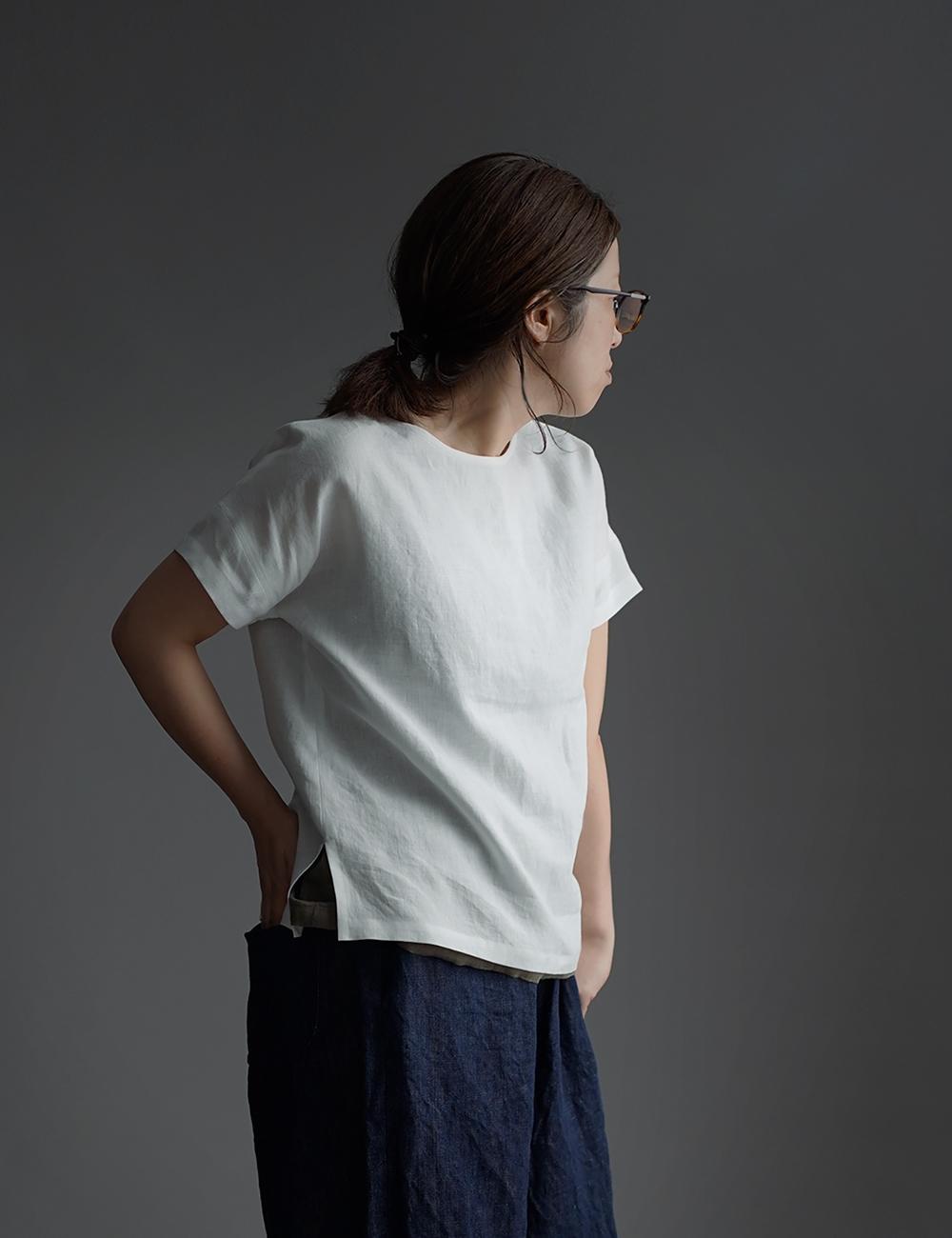 【wafu】Linen T-shirt ドロップショルダー Tシャツ /白色 t001l-wht1