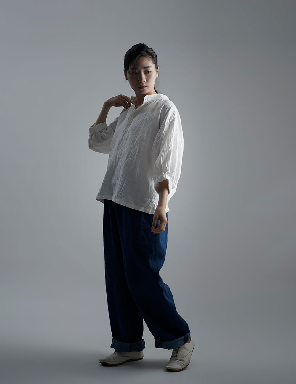 【wafu】Linen Top スタンドカラーブラウス / ホワイト t005a-wht2