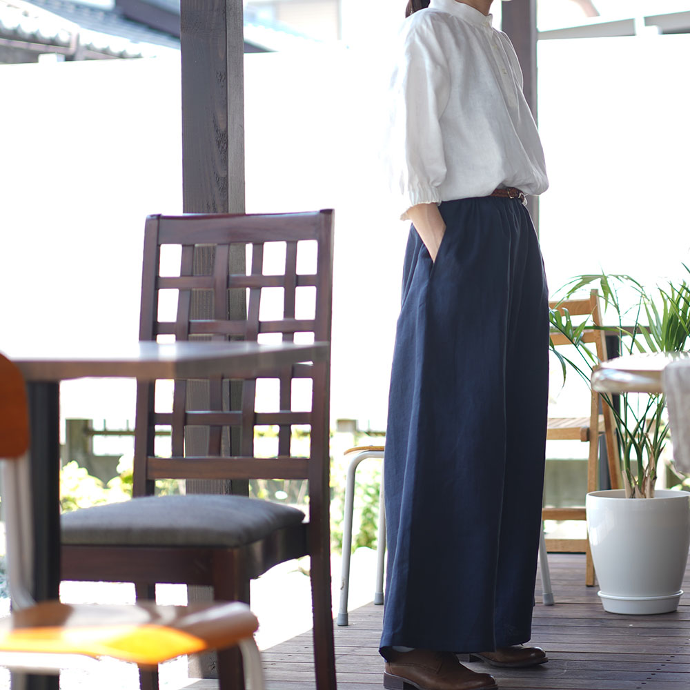 【wafu】中厚 リネン ブラウス ふんわりスタンドカラー ドロップショルダー シャツチュニック / ホワイト【M-L】t005a-wht2