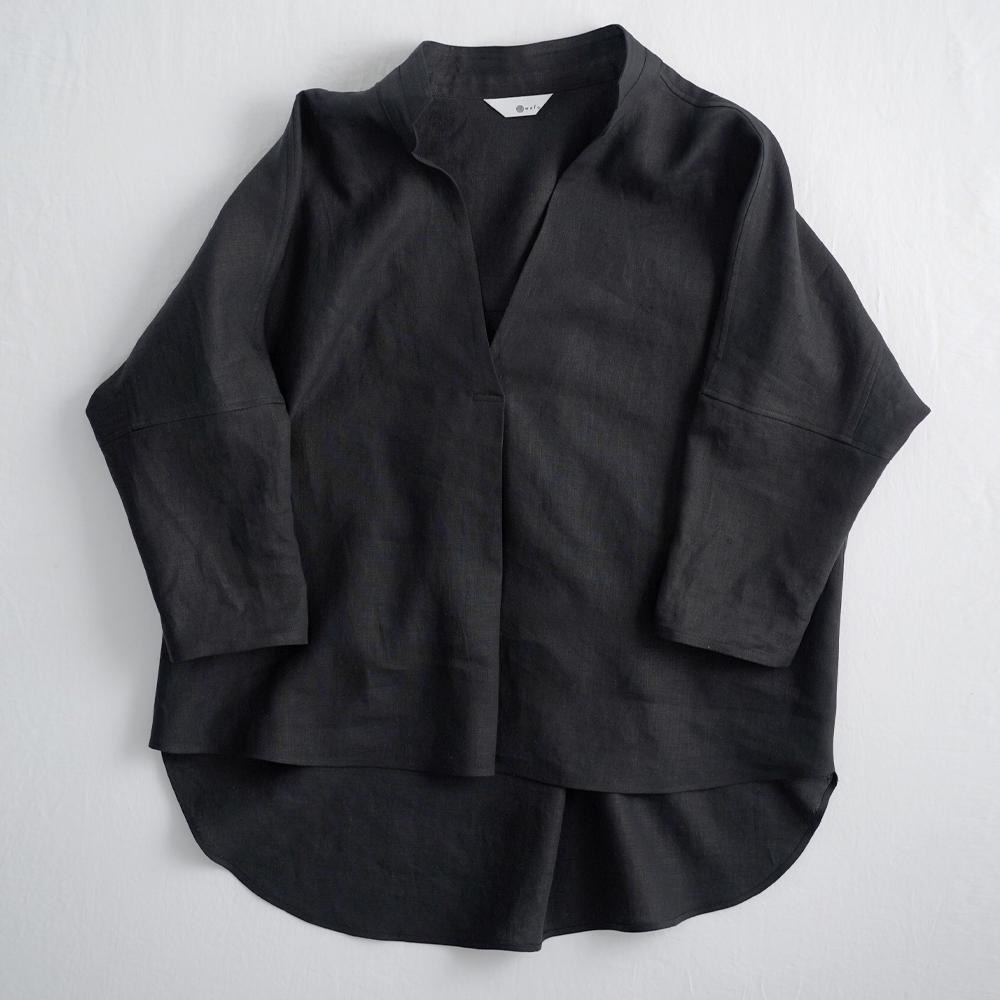 【3日間限定 早割】Linen Skipper Top スタンドカラーブラウス /黒色 t005e-bck1