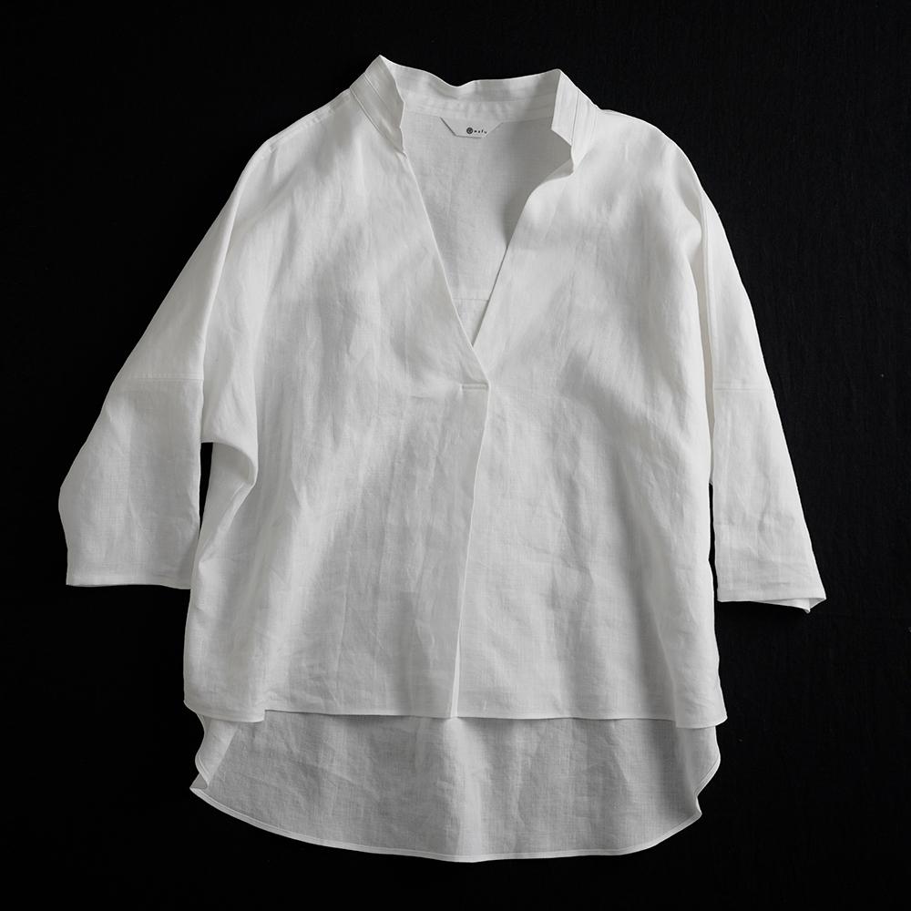 【3日間限定 早割】Linen Skipper Top スタンドカラーブラウス /白色 t005e-wht1