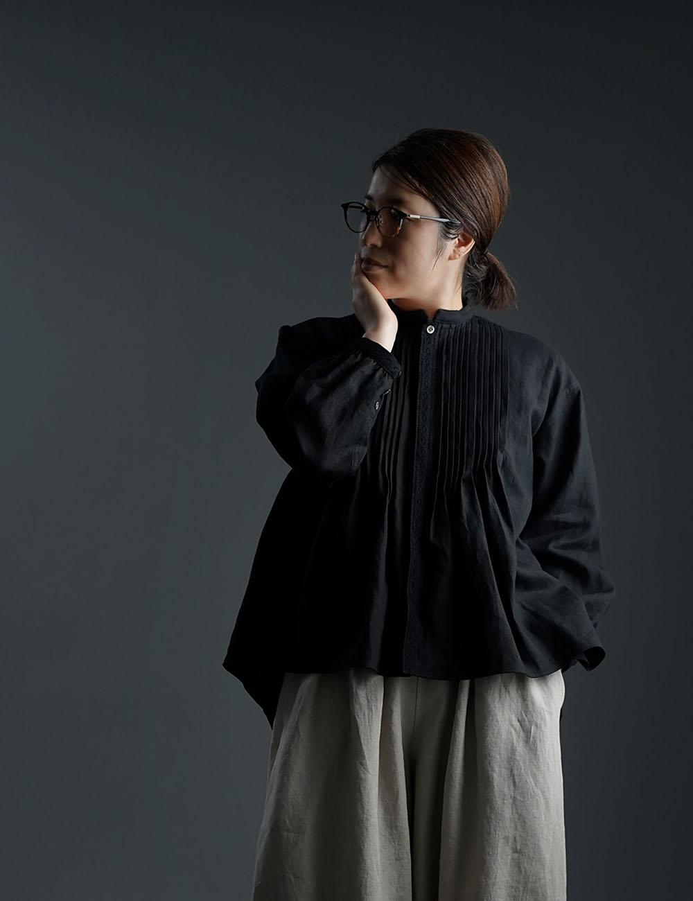 【wafu】Rosanna(ロザンナ) Pintucked linen shirt /2色展開 t006d