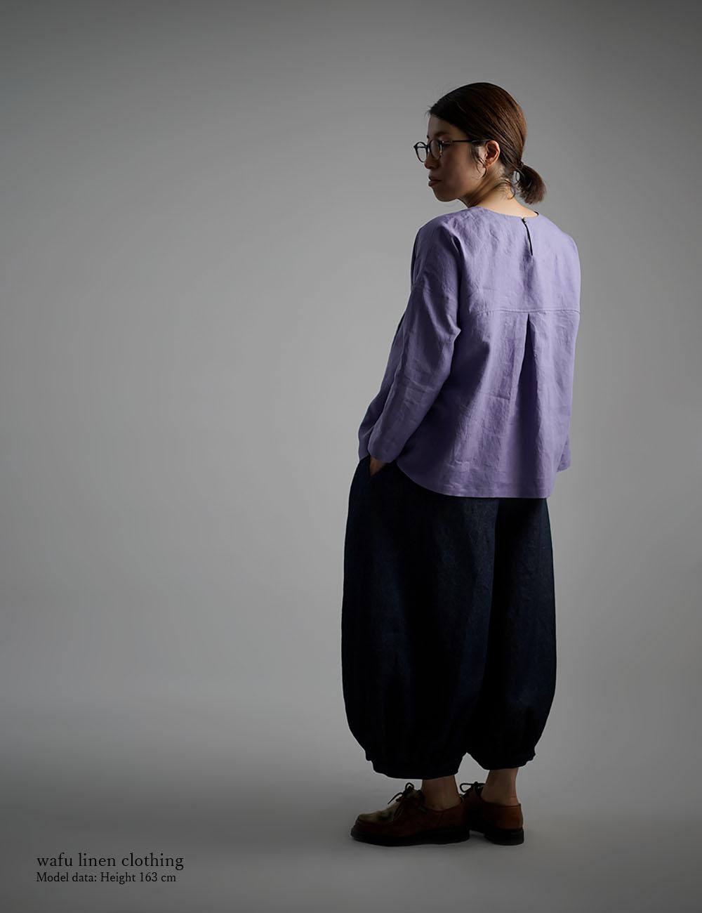 【wafu】Linen Top 超高密度リネン タックブラウス /藤色(ふじいろ) t011a-fji1