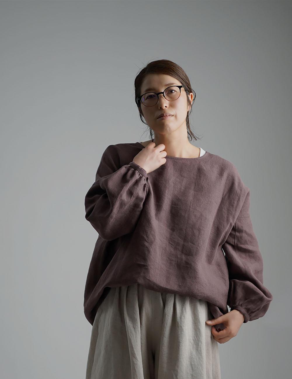 【10月7日21時~販売開始】Linen Top ふんわり袖ガゼットブラウス /小豆色(あずきいろ) t011e-azk2