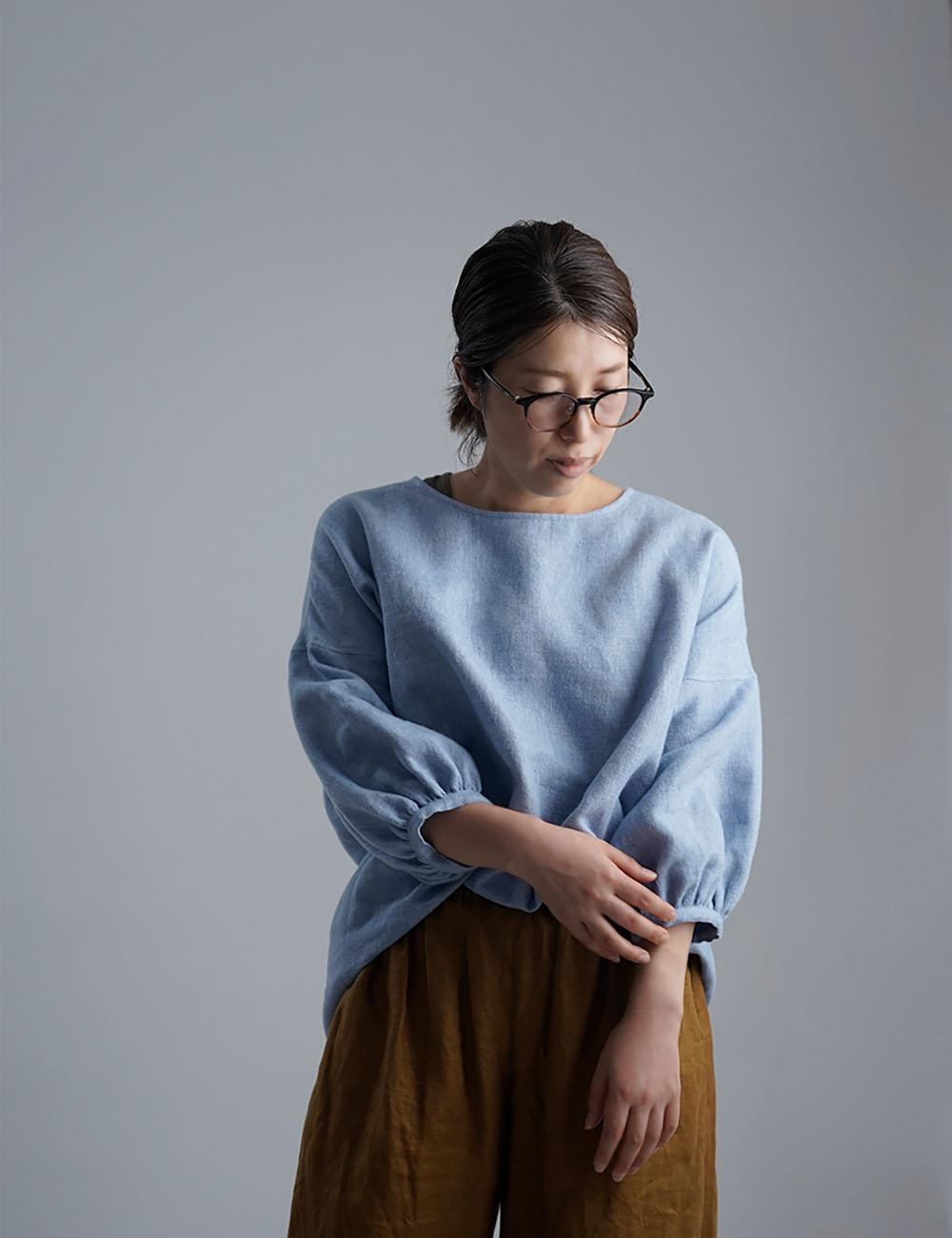 【10月9日21時~販売開始】【早割】Linen Top 表面起毛 ふんわり袖 ガゼットブラウス /水色 t011f-blu2