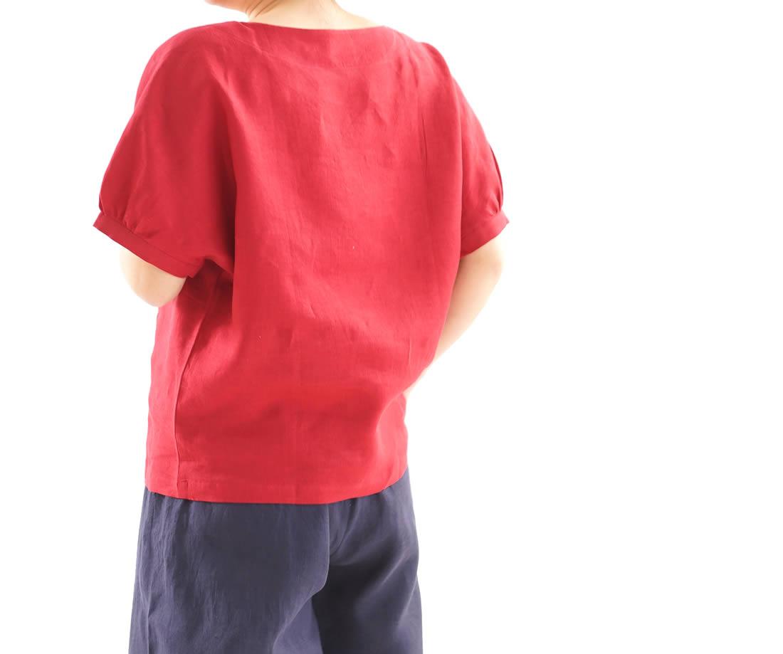 【wafu】薄地 雅亜麻 リネンブラウス ドルマンスリーブ チュニック トップス / 紅色【目安体系 13号(L)~15号(L)】t012a-bne1