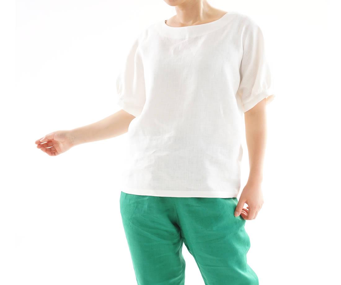 【wafu】中厚 リネン ブラウス ドルマンスリーブ チュニック Tシャツ トップス / ホワイト 【目安体系 13号(L)~15号(L)】t012a-wht2
