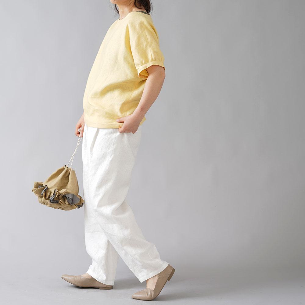 【wafu入門編】23着限定! リネントップス ドルマンスリーブ 半袖 ギャザー袖 中厚 リネン/ライムライト t012c-llt2