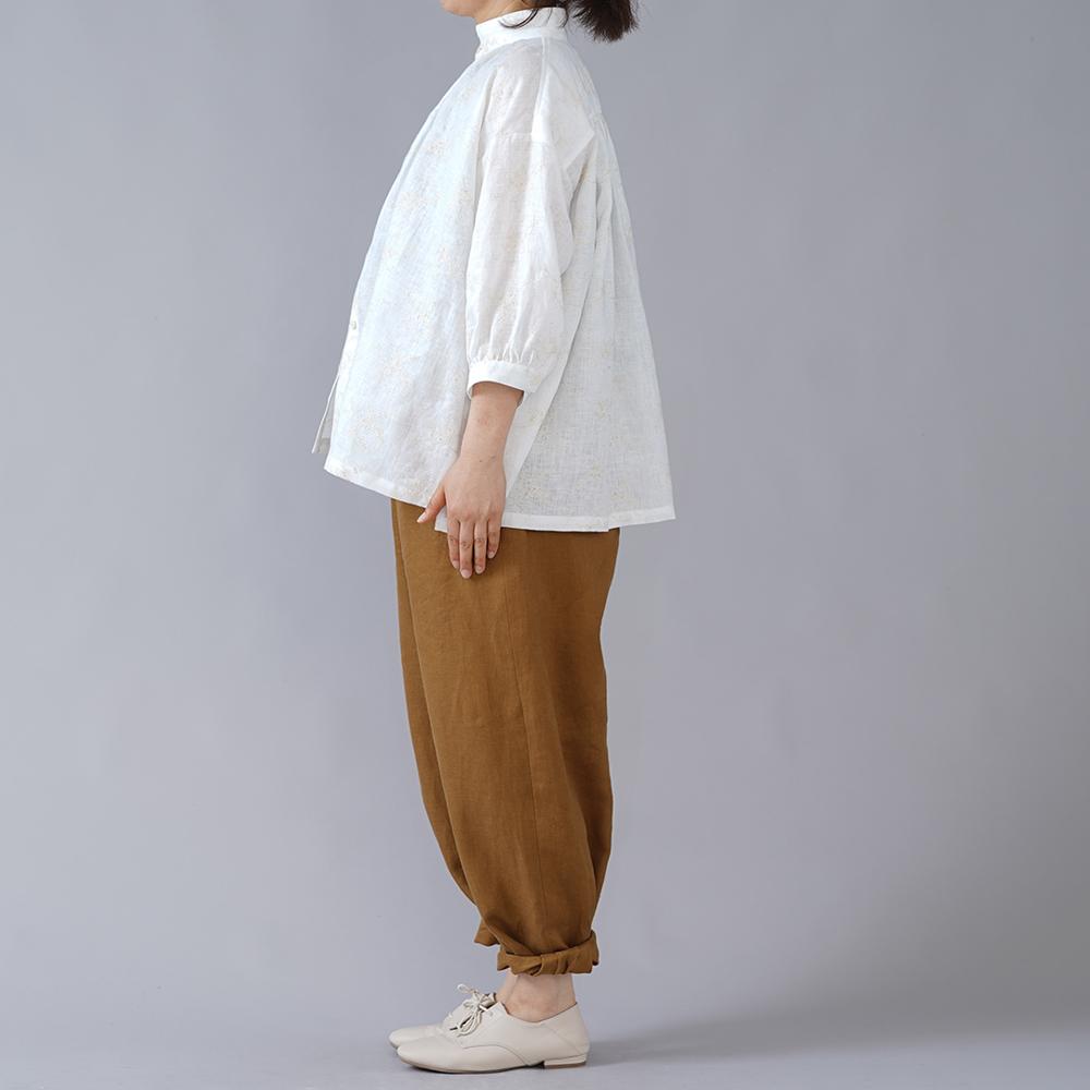 【wafu】石川県産 刺繍リネン ブラウス スタンドカラー やや薄地/ホワイト t015b-hgs1