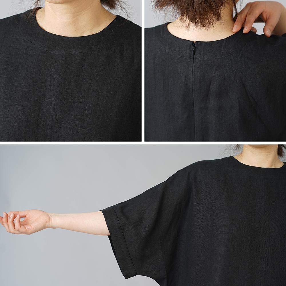【wafu】リネン ビックサイズ Tシャツ 襟ぐり小さめ 背中ファスナー ドロップショルダー チュニック やや薄地/ブラック t016c-bck1
