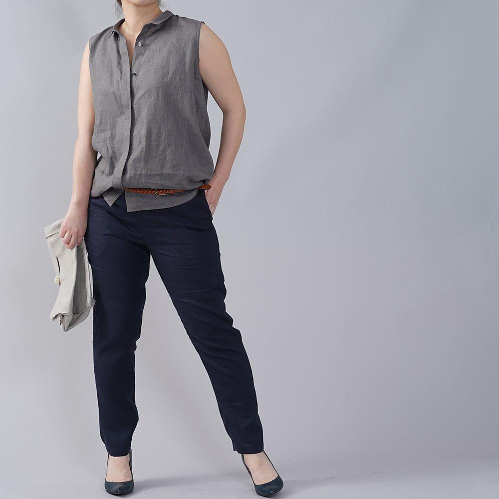 やや薄地 リネン ちび襟 ノースリーブ 比翼シャツ インナーとしても リネンタンクトップ リネン シャツ /鈍色(にびいろ)【M-L】t018a-nib1