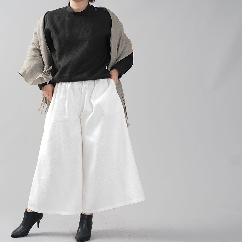 【wafu】中厚地 リネン 肩ボタン ブラウス シャツ スタンドカラー カフス袖 シェルボタン 長袖 ふんわり袖 タック袖 トップス/ブラック【M-L】t019b-bck2