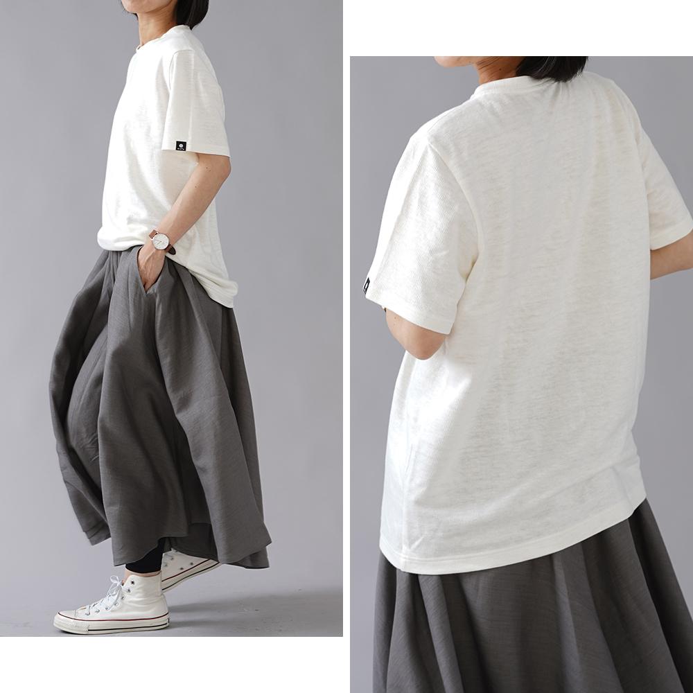 【wafuオリジナル】唯一無二のリネン100% Tシャツ モニターになってください。 縮むのでその分大きくしています。/白 t020e-wht3